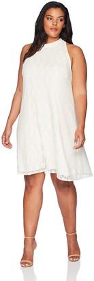 Star Vixen Women's Plus-Size Sleeveless Cutaway Shoulder Mock Neck Keyhole Back Dress