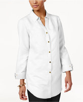 JM Collection Petite Linen-Blend Shirt, Only at Macy's