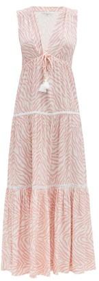 Heidi Klein Cape Town Plunge-neck Zebra-print Maxi Dress - Pink Print