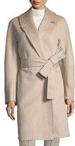 Fleurette Kimono-Sleeve Notched-Collar Wool Wrap Coat
