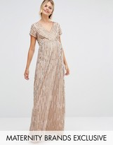 Maya Maternity All Over Embellished Cap Sleeve Maxi Dress