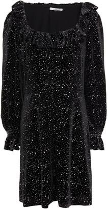Olivia Rubin Eliza Ruffled Glittered Velvet Mini Dress