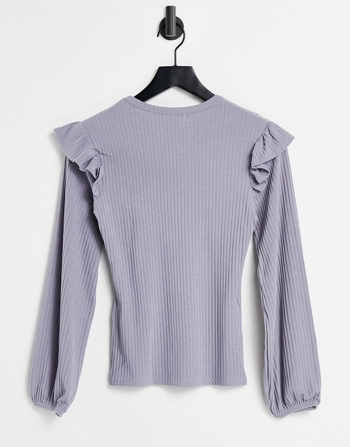 Thumbnail for your product : New Look soft rib frill shoulder top in off grey lilac