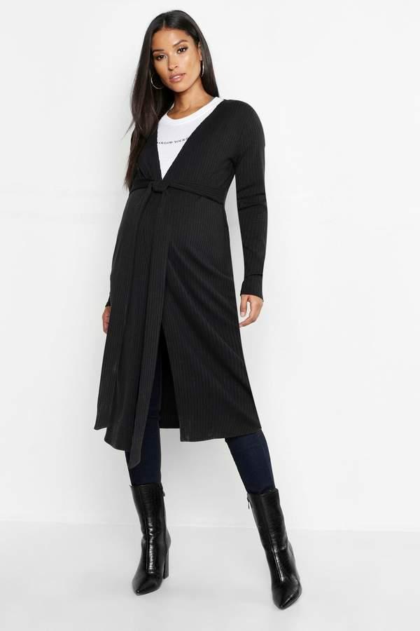 Maternity Tie Waist Soft Knit Rib Cardigan