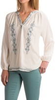 Chelsea & Theodore Embroidered Bracelet Sleeve Shirt - Long Sleeve (For Women)