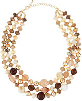 Fragments for Neiman Marcus Triple-Strand Beaded Stone Necklace, Brown
