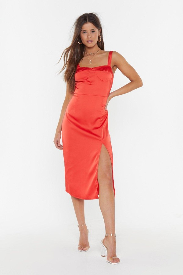 Nasty Gal Womens Who Makes You Feel Satin Bustier Dress - Red - 12