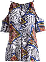 Glam Blue & Black Geometric Keyhole-Tie Cutout Tunic