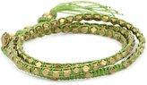 "M.Cohen Handmade Designs M. Cohen Handmade Designs Tiny Brass Beads on Seafoam Linen Triple Wrap Bracelet, 21.5"""