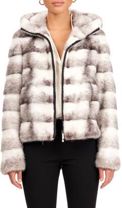 Gorski Chevron Pattern Mink Fur Zip Jacket