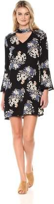 Blu Pepper Women's Long Sleeve Floral Dress with Gigi Neck