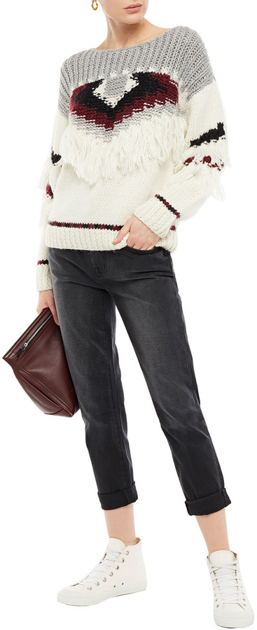 Thumbnail for your product : Current/Elliott Distressed High-rise Straight-leg Jeans