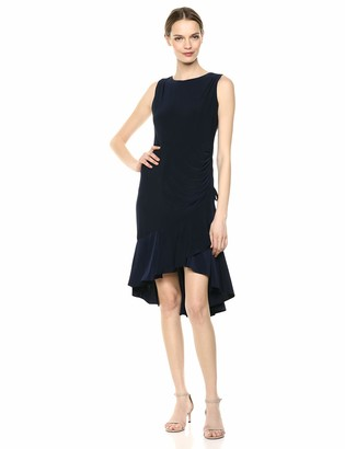 Gabby Skye Women's Sleeveless Round Neck ITY Rouched A-Line Dress
