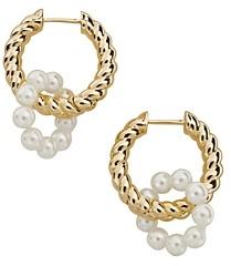 BaubleBar Coco Imitation Pearl Double Hoop Earrings