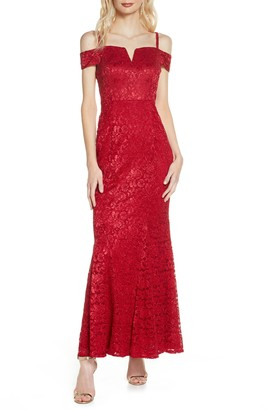 Morgan & Co. Cold Shoulder Lace Gown