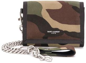 Saint Laurent Camouflage Print Chain Wallet