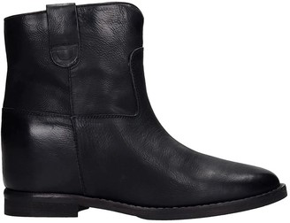 Julie Dee Low Heels Ankle Boots In Black Leather