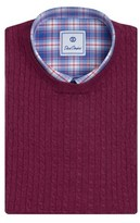 David Donahue Cable Cashmere Blend Crew Neck Sweater.
