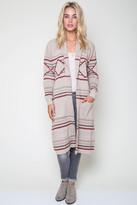 Goddis Vance Longline Knit Jacket In Sand City