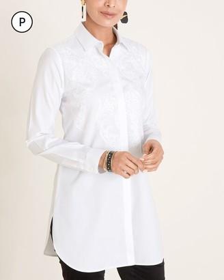 No Iron Petite Embroidered Cotton-Blend Tunic