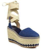 Tory Burch Dandy Denim Ankle-Wrap Wedge Platform Espadrilles