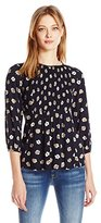 Blu Pepper Women's Floral Print Jacquard Long Sleeve Top