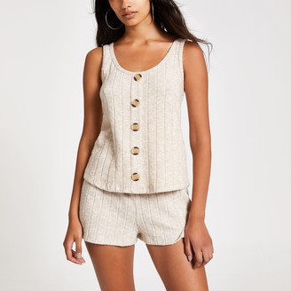 River Island Womens Cream ribbed cami pyjama top