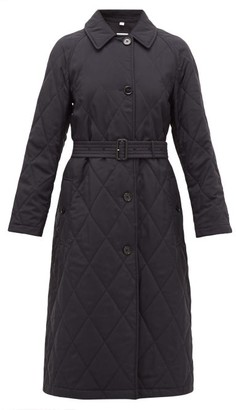 Burberry Helsington Belted Single-breasted Quilted Coat - Womens - Navy
