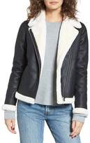 Obey Chloe Faux Leather Moto Jacket with Faux Fur Trim
