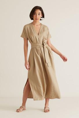 Seed Heritage Linen Tie Up Dress
