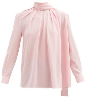 Alexander McQueen Scarf-neck Silk-crepe Blouse - Light Pink