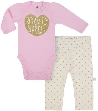 Just Born Organic Baby Girl Bunny Bodysuit and Pants Set, 2-Piece