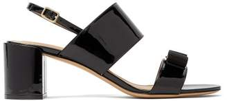 Salvatore Ferragamo Giulia Bow-embellished Patent-leather Sandals - Womens - Black