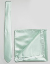 Asos WEDDING Tie and Pocket Square Pack In Pale Green