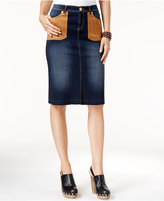 INC International Concepts Faux-Suede-Pocket Denim Pencil Skirt, Only at Macy's