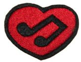 Logophile Embroidered Musical Note Heart Patch