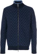Etro patterned zip turtleneck cardigan - men - Viscose/Wool - M