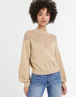 Monki cropped glitter lighweight sweater in gold