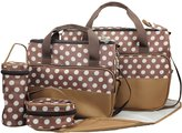 Win8Fong 5 in 1 Baby's Polka Dots Tote Shoulder Durable Diaper Bags Mummy Bags