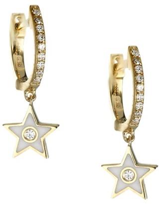 Ef Collection 14K Yellow Gold, Diamond & Enamel Star Drop Huggie Hoop Earrings