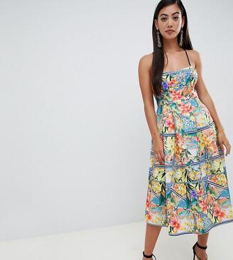 ASOS DESIGN Petite tropical prom midi dress