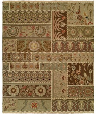 Wildon Home Floral Handwoven Flatweave Wool Brown/Green Area Rug Rug Size: Rectangle 3' x 5'