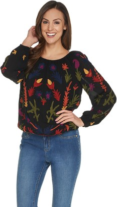 Laurie Felt Embroidered Boho Style Round Neck Blouse