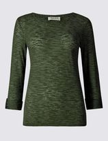 Marks and Spencer Slub Striped 3/4 Sleeve Jersey Top