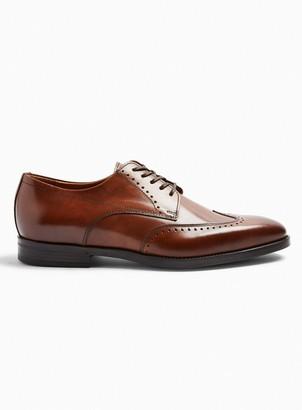 Topman Tan Real Leather Pisa Wingcap Shoes