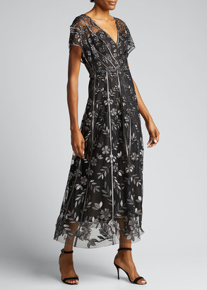 Lela Rose Floral-Embroidered V-Neck Dress