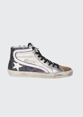Golden Goose Slide Metallic Glitter High-Top Sneakers