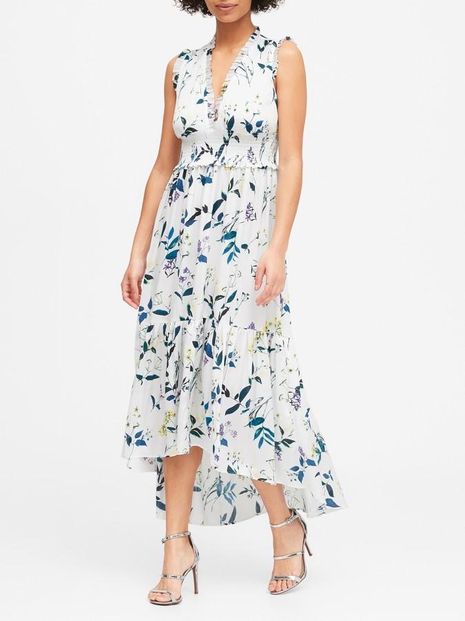 Banana Republic Print Soft Satin Maxi Dress