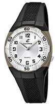 Calypso Unisex Quartz Watch with Silver Dial Analogue Display and Black Plastic Strap K5215/1