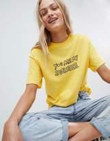 Daisy Street Boyfriend T-Shirt With Sunshine Print